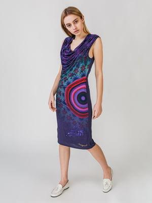 Сукня бузкового кольору з принтом   5609637