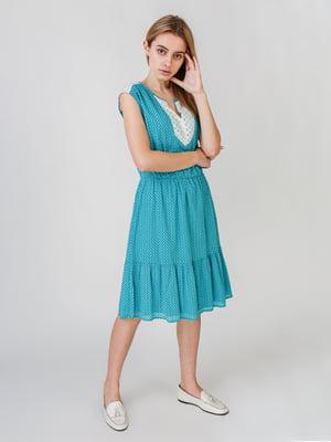 Сукня бірюзового кольору з візерунком | 5609632