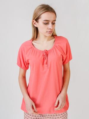 Футболка-блуза коралового кольору | 5609602