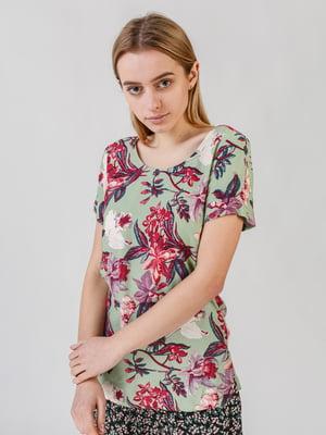 Блуза зеленая с цветочным принтом | 5609675