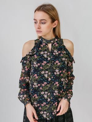 Блуза темно-синяя с цветочным принтом | 5609611