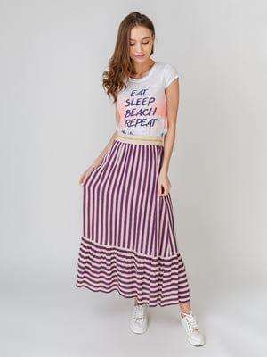 Спідниця фіолетового кольору в смужку | 5609482