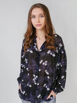Рубашка черная с цветочным принтом | 5609405