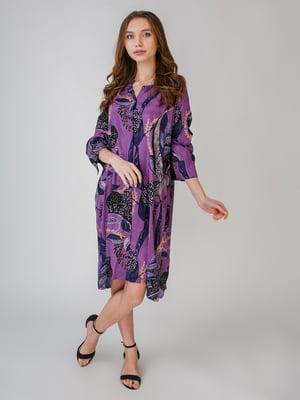 Платье сиреневого цвета с принтом | 5609398