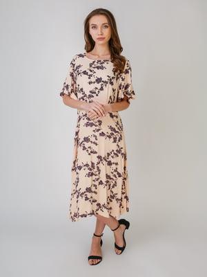 Сукня бежевого кольору з квітковим принтом | 5609553