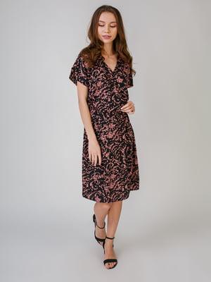 Платье черное с цветочным принтом | 5609547