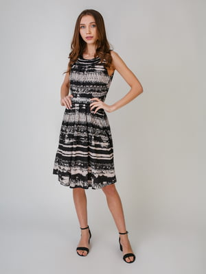 Платье черно-бежевого цвета с орнаментом | 5609568