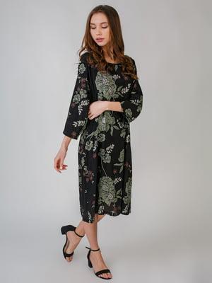 Платье черное с цветочным принтом | 5609402