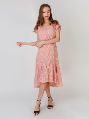 Сукня кольору пудри в клітинку | 5609651