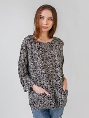 Блуза черная с анималистическим принтом | 5609408
