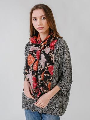Шарф чорний з квітковим принтом | 5609419