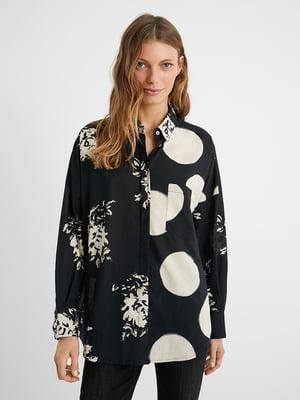 Блуза чорна у принт | 5609908