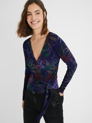 Блуза темно-синя у принт | 5609913