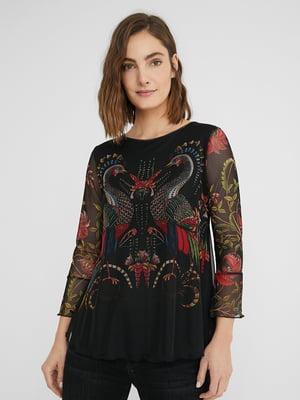Блуза чорна у принт | 5609916