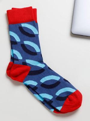 Носки синие в принт | 5613082