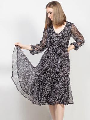 Платье черное в мелкий цветочный принт | 5613447