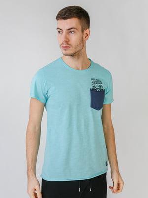 Футболка голубого цвета в принт | 5609531