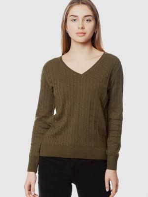 Пуловер цвета хаки | 5613909