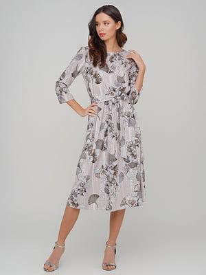 Сукня сіра в квітковий принт | 5614466