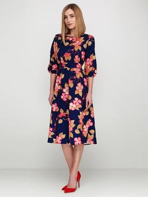 Платье синее в цветочный принт | 5614470