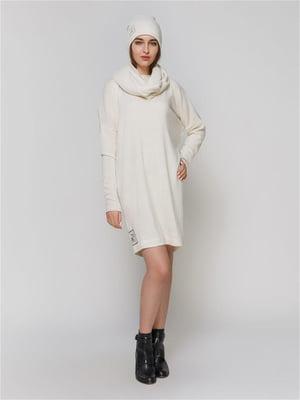 Комплект: платье, шапка и шарф-хомут | 5615356