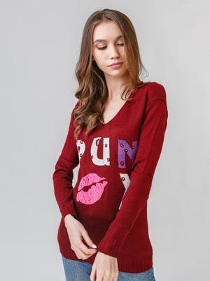 Пуловер бордовый с принтом   5615313