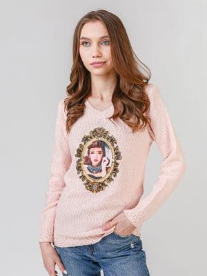 Пуловер розовый с принтом | 5615162