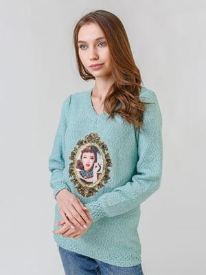 Пуловер бирюзовый с принтом | 5615160