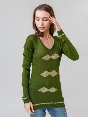 Пуловер зеленый с ромбами | 5615276