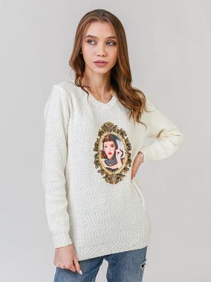 Пуловер белый с принтом | 5615161