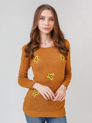 Джемпер горчичного цвета с вышивкой | 5615188