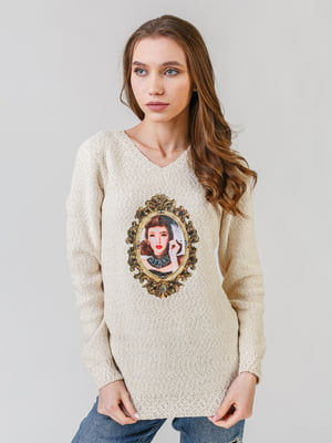 Пуловер бежевый с принтом | 5615164