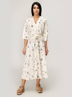 Сукня молочного кольору у принт   5617832