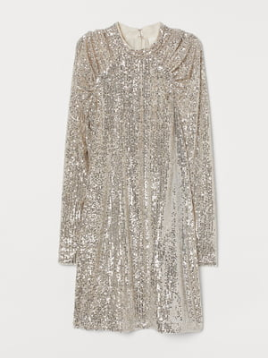 Платье серебристого цвета с декором | 5618562