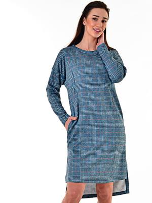 Сукня блакитна в принт | 5618826