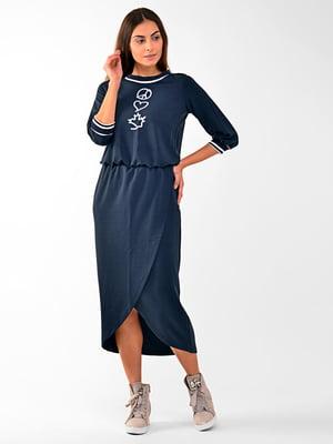 Платье синее с декором | 5618836