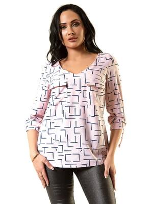 Блуза розовая в принт | 5360316