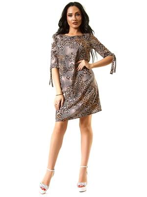 Сукня коричнева з принтом | 5360339
