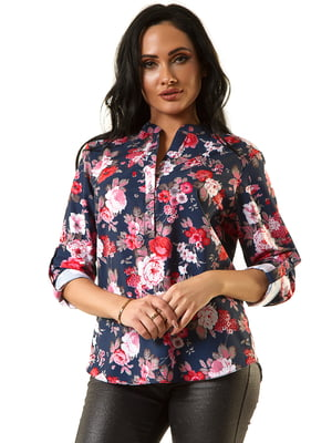 Блуза синя в принт | 5360391