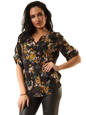Блуза черная в принт | 5618741
