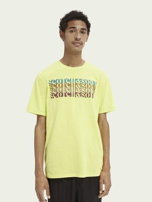 Футболка жовта з принтом | 5618278