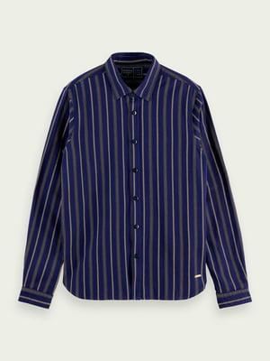 Сорочка синя в смужку | 5618319
