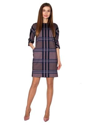 Сукня бежевого кольору в клітинку | 5619033