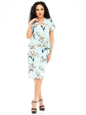 Сукня блакитна в квітковий принт   5062989