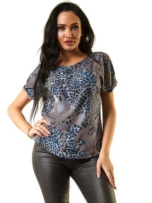 Блуза синяя с принтом | 5360306