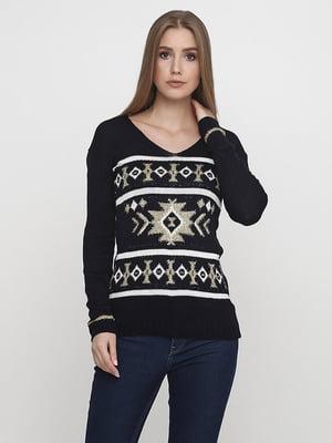 Пуловер темно-синий в орнамент | 5619352