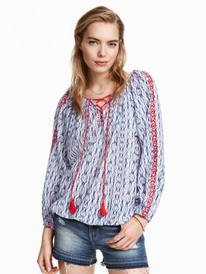 Блуза голубая в принт | 5619781