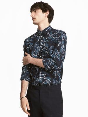 Рубашка темно-синяя с рисунком   5619915