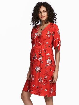 Платье красное в цветочный принт   5619921