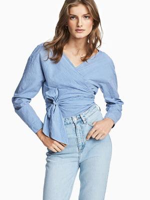 Блуза сине-белая в клетку   5619941